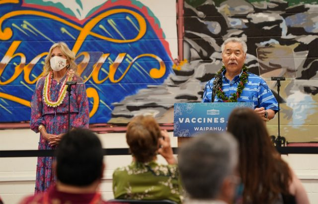 Governor David Ige gives some remarks before First Lady Dr. Jill Biden is introduced to speak at Waipahu High School library.