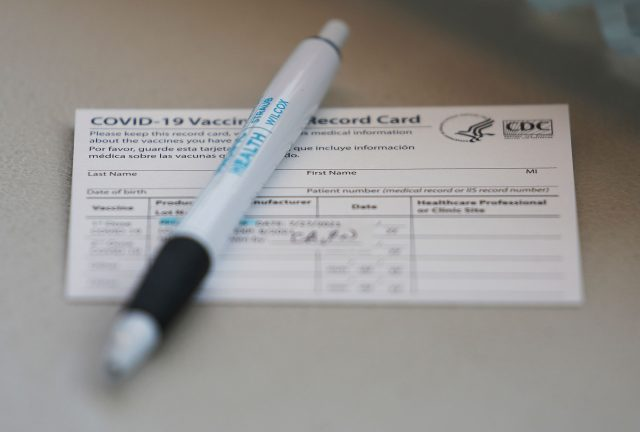 Hawaii Pacific Health Vaccine bus COVID-19 vaccination card.