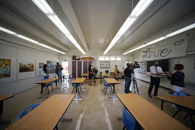Prince David Kawananakoa Middle School 6th grade teacher Corrie Izumoto's classroom with physically distanced desks.