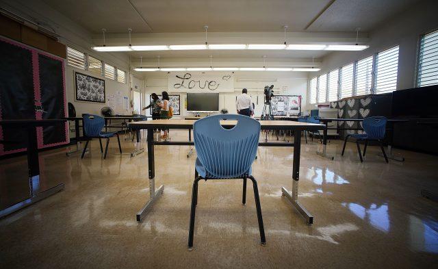 Prince David Kawananakoa Middle School 6th grade teacher Corrie Izumoto's classroom.