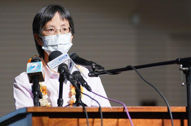 Department of Health Director Elizabeth Char speaks during press conference held at Prince David Kawananakoa Middle School.