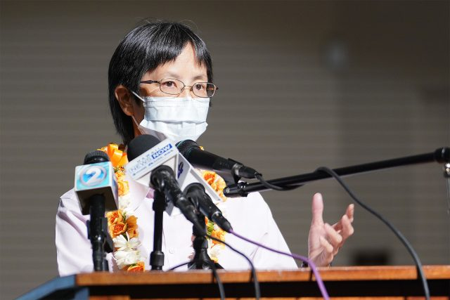 Department of Health Director Dr. Elizabeth Char speaks during a press conference held at Prince David Kawananakoa Middle School.