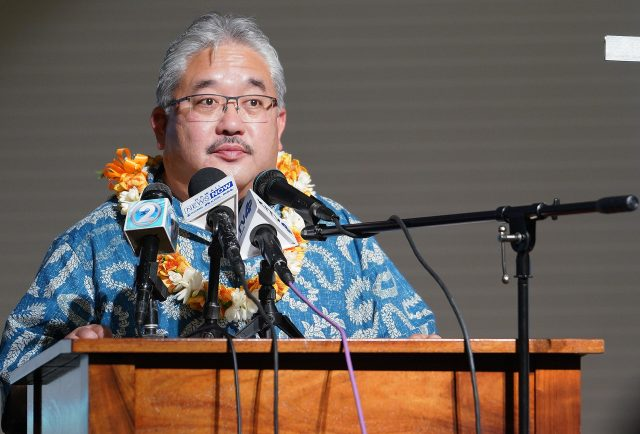 Interim DOE Superintendent Keith Hayashi speaks at press conference held at Prince David Kawananakoa Middle School.