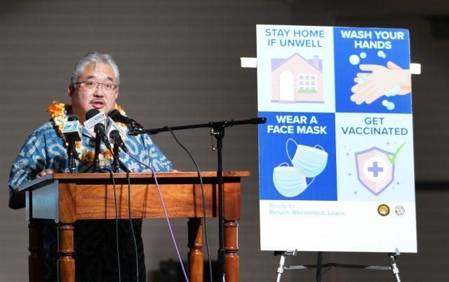 Interim DOE Superintendent Keith Hayashi speaks during press conference held at Prince David Kawananakoa Middle School.