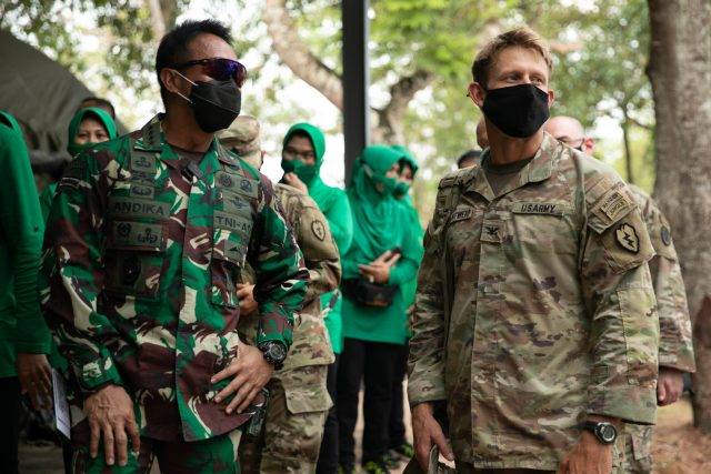 U.S. Army Col. Jeffrey VanAntwerp, 25th Infantry Division Deputy Commander of Operations, and Indonesian Gen. Andika Perkasa, Chief of Staff of the Indonesian Army, discuss upcoming plans during a visit to the Baturaja Training Area, Indonesia, on August 2, 2021. Garuda Shield 21 is a two-week joint-exercise between the United States Army and Tentara Nasional Indonesia (TNI-AD Indonesia Armed Forces) with the purpose of enhancing and enriching the jungle warfare ability of both the U.S. Army and Indonesian Army. (U.S. Army photo by Spc. Rachel Christensen)