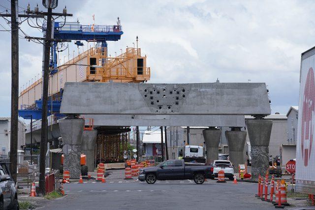 Rail guideway construction on Ualena Street near the Lagoon Drive intersection.