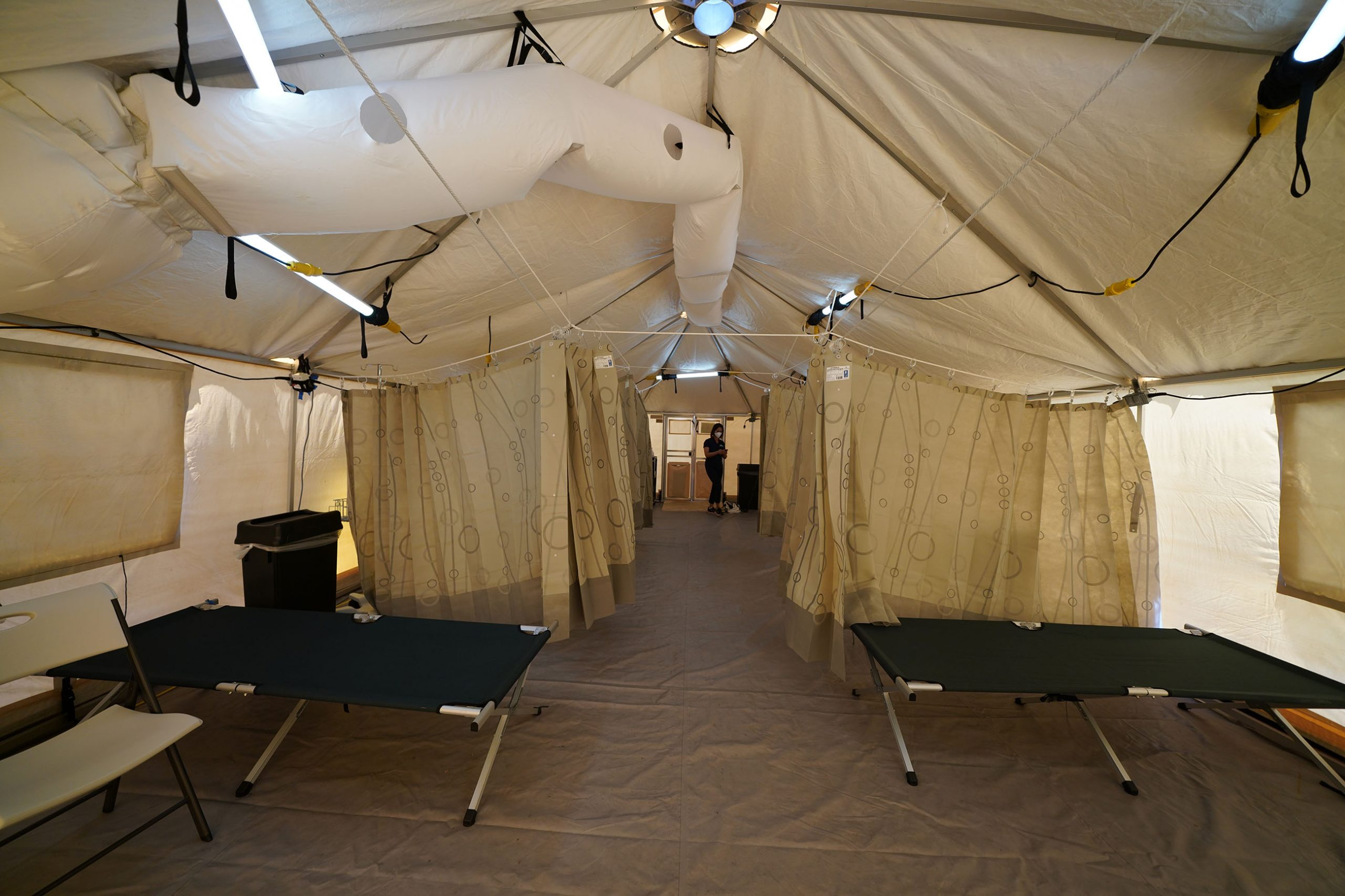 Inside view of Straub Medical Center's tent outside the Emergency room during Covid-19 surge.