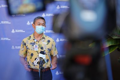 Queen's Medical Center President Jason C. Chang holds a press conference announcing that they are announced an internal state of emergency due to Covid-19 surge. August 20, 2021