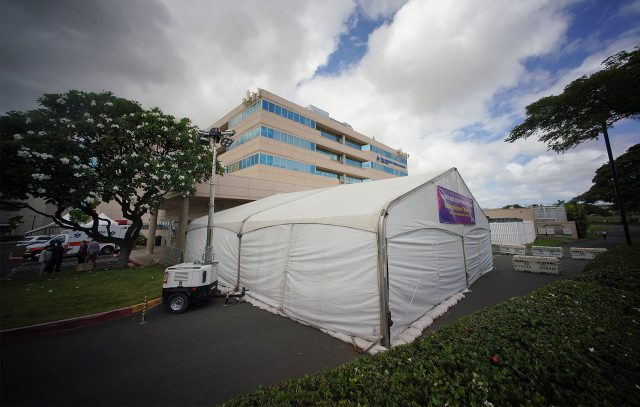 The Queen's Medical Center West Oahu Covid-19 triage tent.