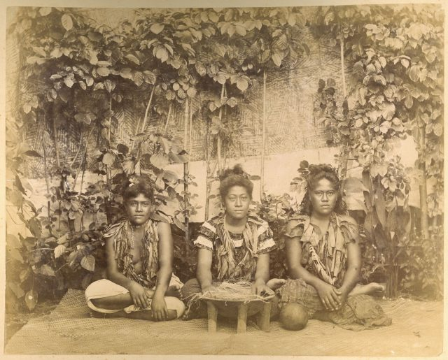 In a picture taken in 1890, three Samoan women pose as they prepare to make kava