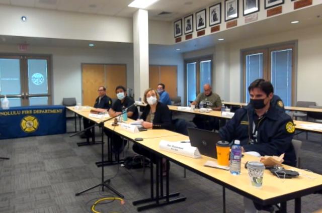 screen shot of Honolulu Fire Commission meeting Aug. 25, 2021