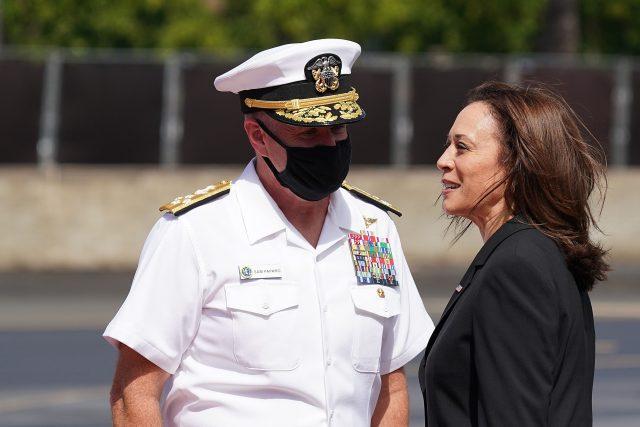 US Vice President Kamala Harris is greeted by Commander US Fleet, Admiral Samuel Paparo in Honolulu, Hawaii.