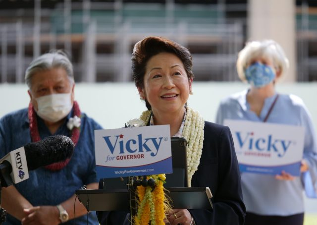 Hawaii's former First Lady Vicky Cayetano announcing that she is officially running as a Democrat for Governor of the State of Hawai'i during News conference at Hawai'i State Capitol grounds on Monday August 30, 2021. Ronen Zilberman Civil Beat.