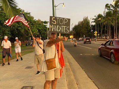 Vaccination opponents Aloha Freedom Coalition anti-tax Waikiki protest Covid