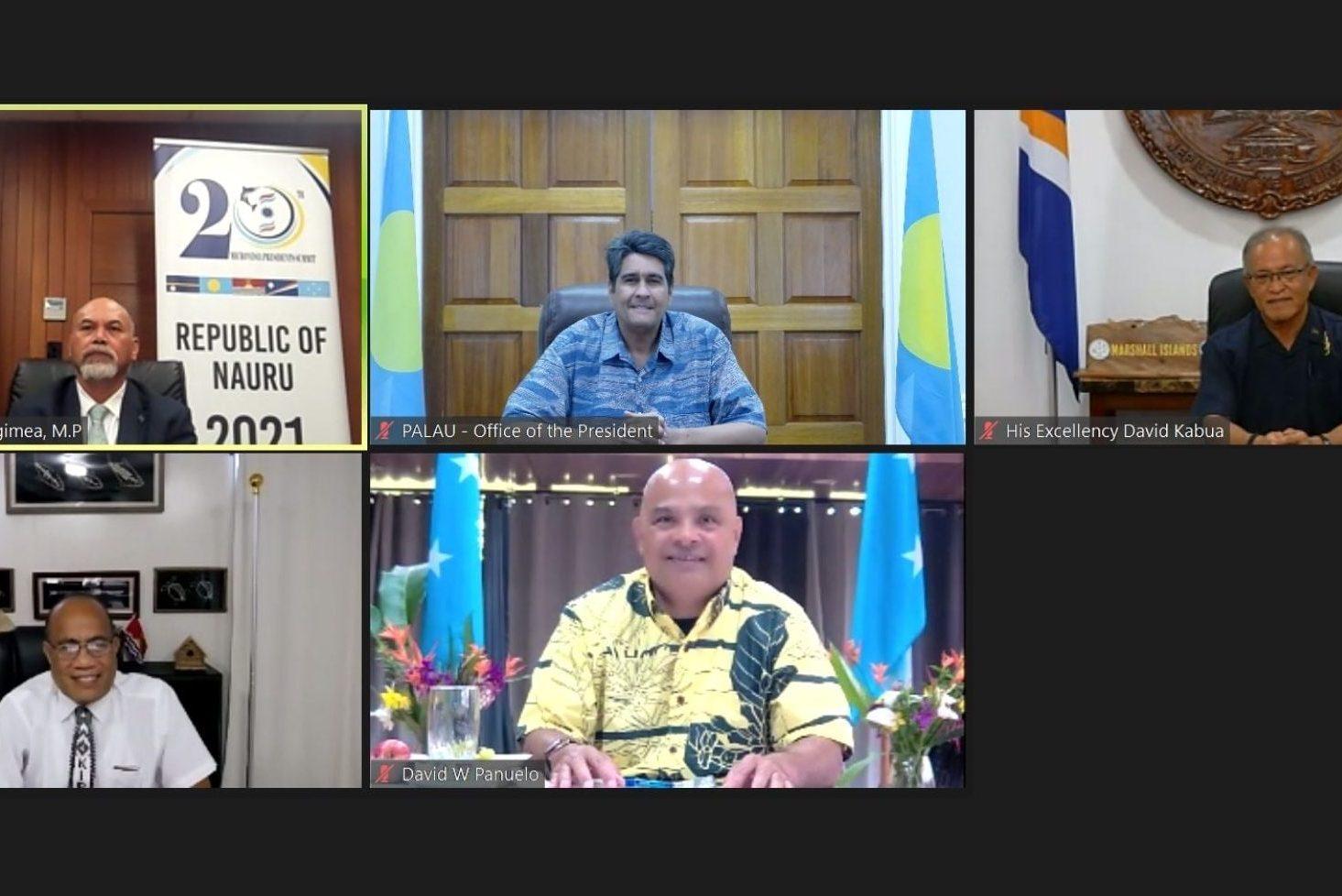 Nauru President Lionel Aingimea welcomed the four presidents of Kiribati, Taneti Maamau; Federated States of Micronesia, David Panuelo; Republic of the Marshall Islands, David Kabua; and Palau, Surangel Whipps Jr.