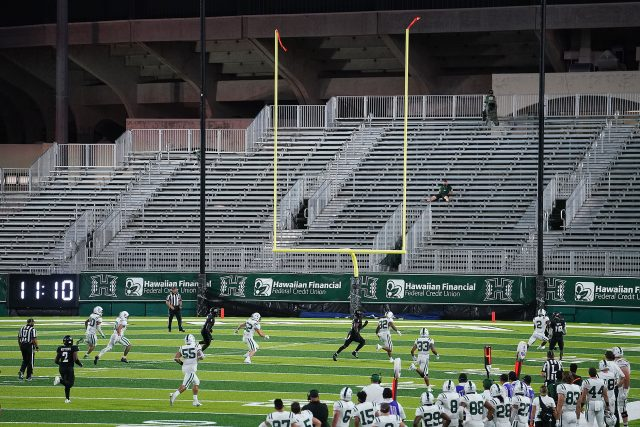 UH Football vs Portland State Vikings game held during a surge of Covid-19 cases statewide. September 4, 2021