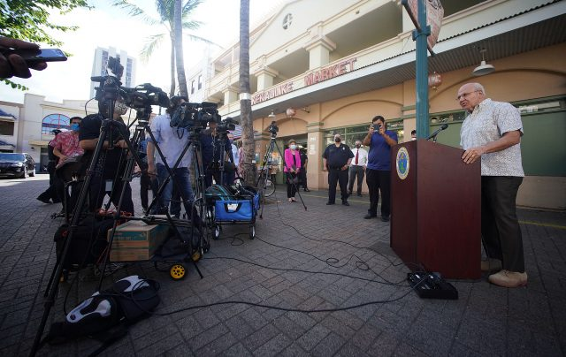Mayor Rick Blangiardi speaks to media during the Weed and Seed press conference held at Kekaulike Mall.