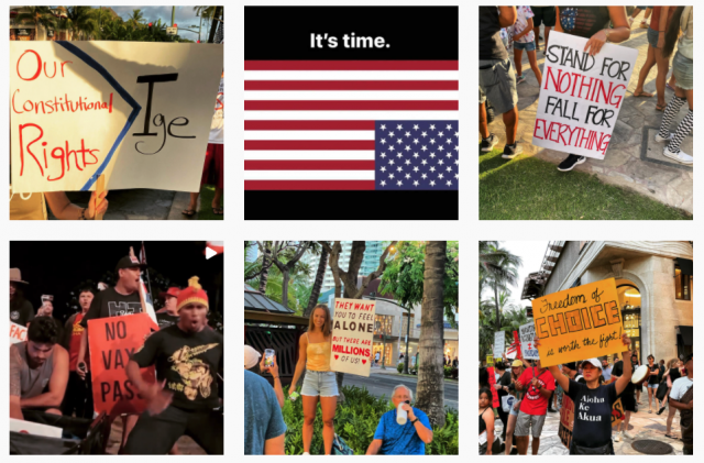 Images from the Instagram account of the Aloha Freedom Coalition.