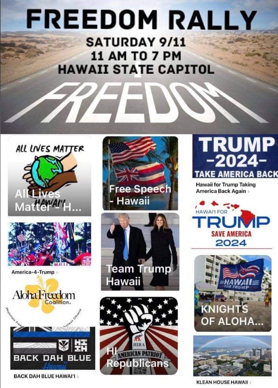 A flier for a Freedom Rally set for Saturday, 9/11.