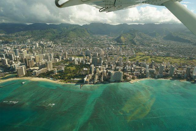 View of Waikiki Beach and Waikiki hotels.
