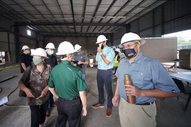 Right, Senator Donovan Dela Cruz and left, Congressman Kai Kahele with left, Senator Michelle Kidani on a short visit to the future site of the Wahiawa Value Added Product Development Center.