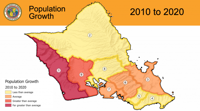 The U.S. Census data shows that most of Honolulu County's population growth is on the Leeward side.