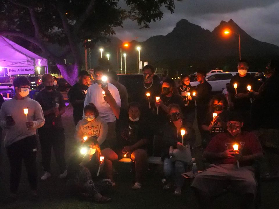 At the conclusion of day long search efforts for the missing 6 year old girl Ariel Sellers (also known as Isabella Kalua) in Waimanalo Sunday, September 19, 2021, community members came together for a candle light vigil to support one another at the Waimanalo District Park.  (Ronen Zilberman photo Civil Beat)