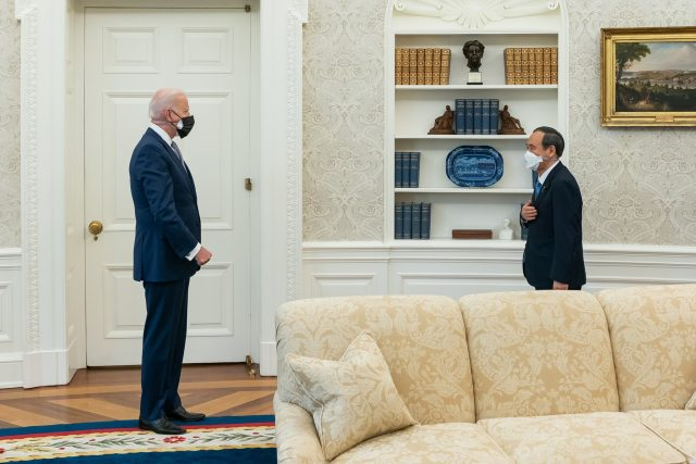 President Joe Biden welcomes Japanese Prime Minister Yoshihide Suga to the White House in April 2021.