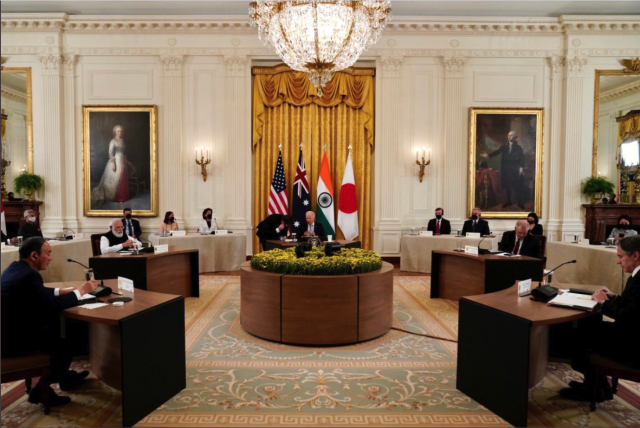 The in-person meeting of leaders in the Quadrilateral Security Dialogue met on Friday to discuss shared issues within the Indo-Pacific region.