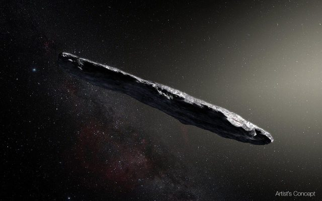 Artist's concept of interstellar object1I/2017 U1 ('Oumuamua) as it passed through the solar system after its discovery in October 2017. The aspect ratio of up to 10:1 is unlike that of any object seen in our own solar system. Image Credit: European Southern Observatory / M. Kornmesser.