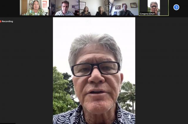 Zoom editorial board with Greg Chun, Sept. 29, 2021.