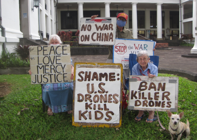 A protest against drones in Hilo, Sept. 24.