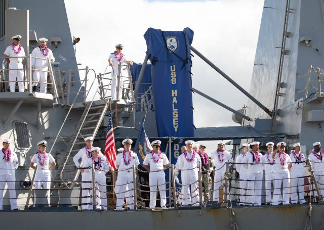 211004-N-MH811-1014PEARL HARBOR (Oct. 4, 2021) - Arleigh Burke-class guided-missile destroyer USS Halsey (DDG 97) returns to Joint Base Pearl Harbor-Hickam following a 5 month deployment to the U.S. 5th and 7th Fleet areas of operation. (U.S. Navy photo by Mass Communication Specialist 3rd Class Molly Crawford)