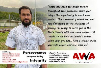 Brenton Awa Running For Hawaii State Senate