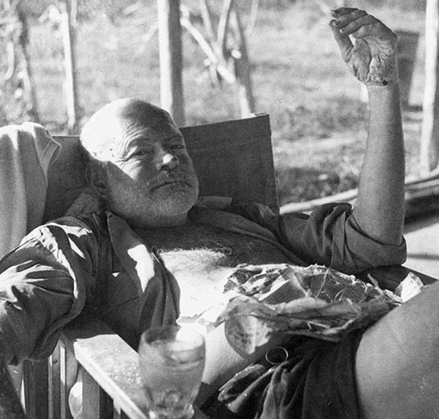 Ernest Hemingway on safari, Kenya, 1954.