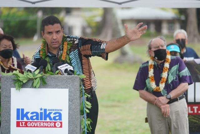 Former Honolulu City Council chair Ikaika Anderson announces his candidacy for Lt. Governor at Kailua Beach Park.